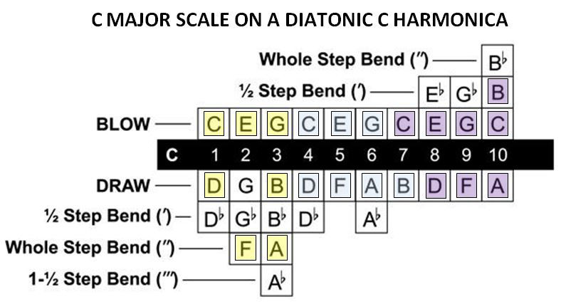The C major scale on the harmonica