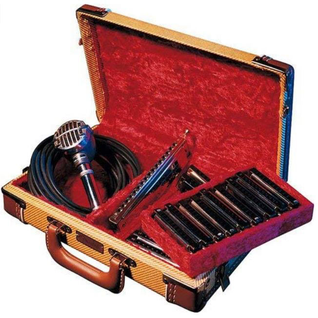Harmonica wooden suitcases covered with tweed