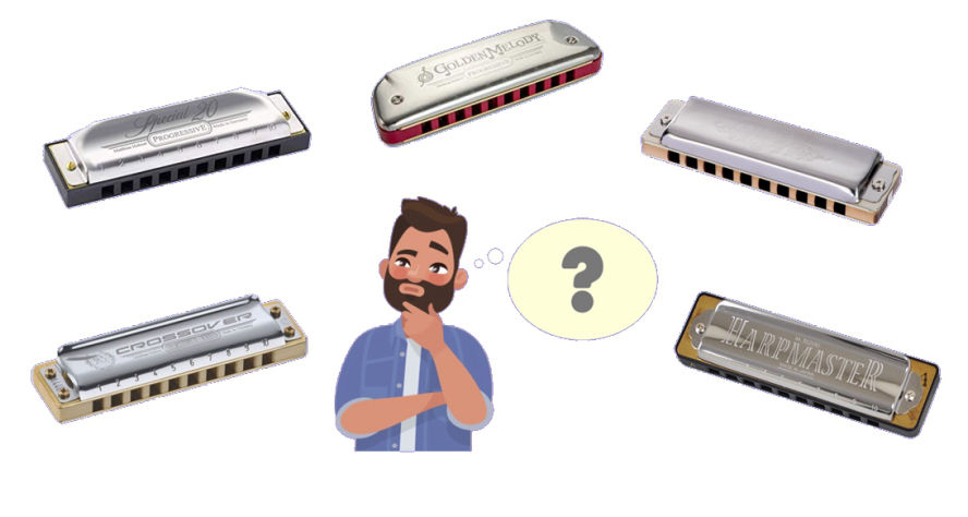 Someone looking at various harmonica models